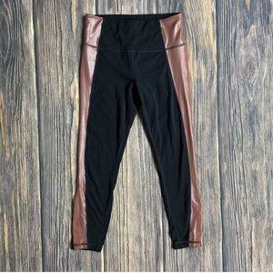 Athleta crops workout pants yoga gym black red SM